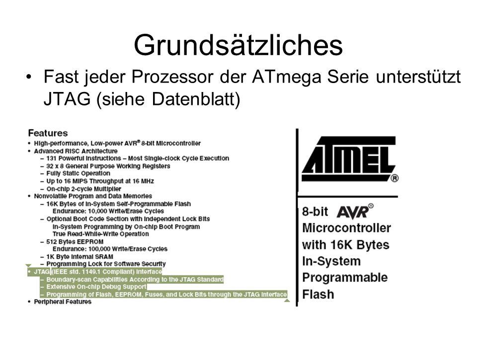 Grundsätzliches Fast jeder Prozessor der ATmega Serie unterstützt JTAG (siehe Datenblatt)