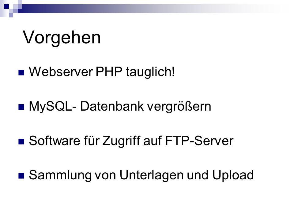 Vorgehen Webserver PHP tauglich! MySQL- Datenbank vergrößern Software für Zugriff auf FTP-Server Sammlung von Unterlagen und Upload