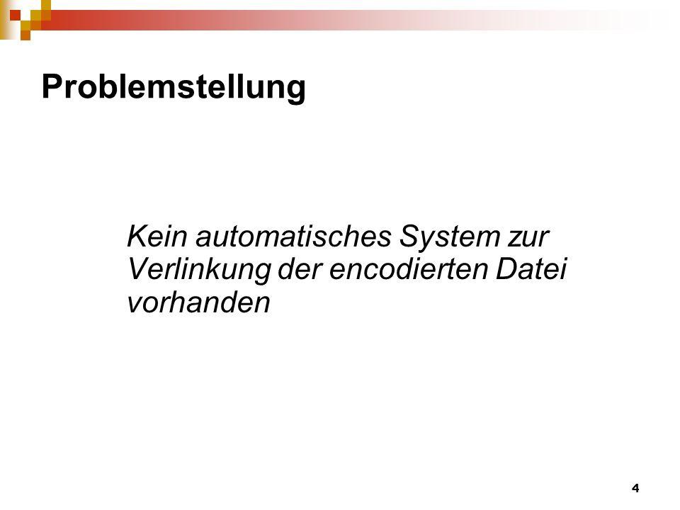 4 Problemstellung Kein automatisches System zur Verlinkung der encodierten Datei vorhanden