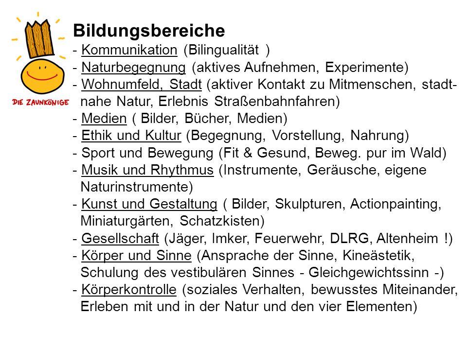 Bildungsbereiche - Kommunikation (Bilingualität ) - Naturbegegnung (aktives Aufnehmen, Experimente) - Wohnumfeld, Stadt (aktiver Kontakt zu Mitmensche