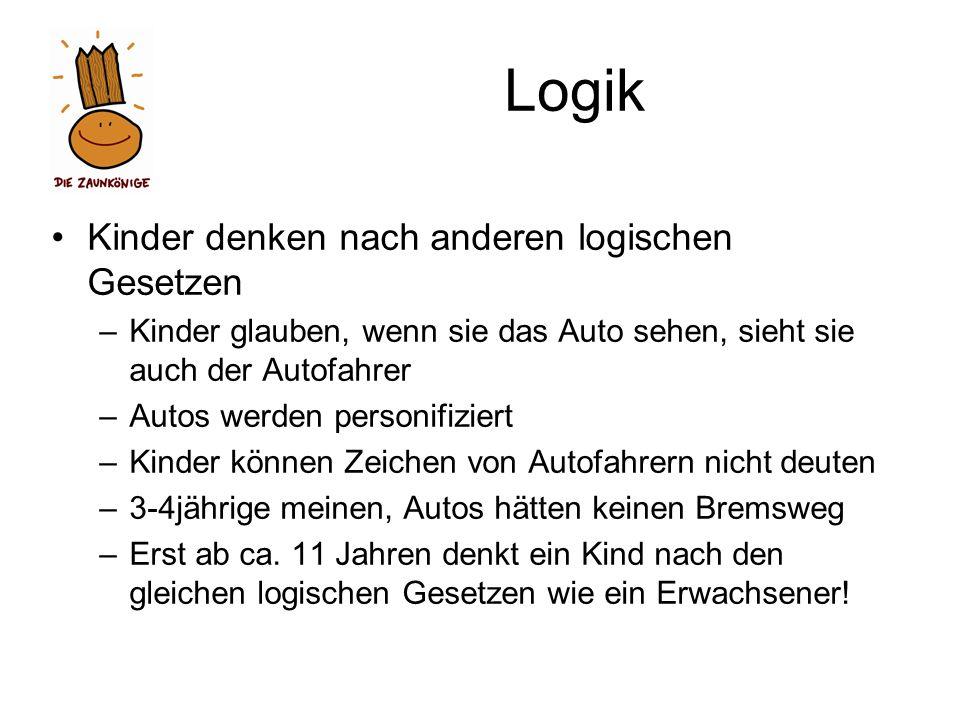 Logik Kinder denken nach anderen logischen Gesetzen –Kinder glauben, wenn sie das Auto sehen, sieht sie auch der Autofahrer –Autos werden personifizie