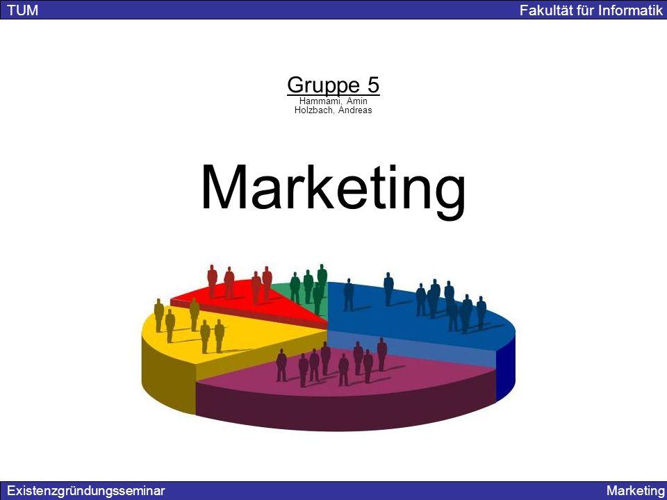 Existenzgründungsseminar Marketing TUM Fakultät für Informatik Gruppe 5 Hammami, Amin Holzbach, Andreas Marketing