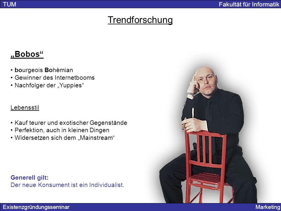 Existenzgründungsseminar Marketing TUM Fakultät für Informatik Trendforschung Bobos bourgeois Bohèmian Gewinner des Internetbooms Nachfolger der Yuppi