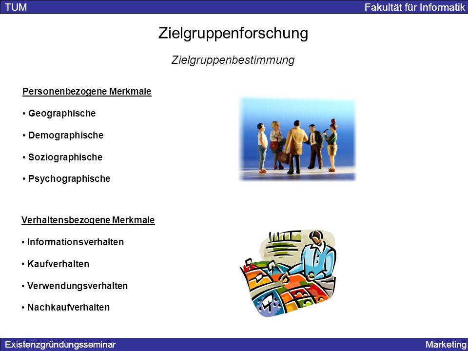 Existenzgründungsseminar Marketing TUM Fakultät für Informatik Zielgruppenforschung Zielgruppenbestimmung Personenbezogene Merkmale Geographische Demo