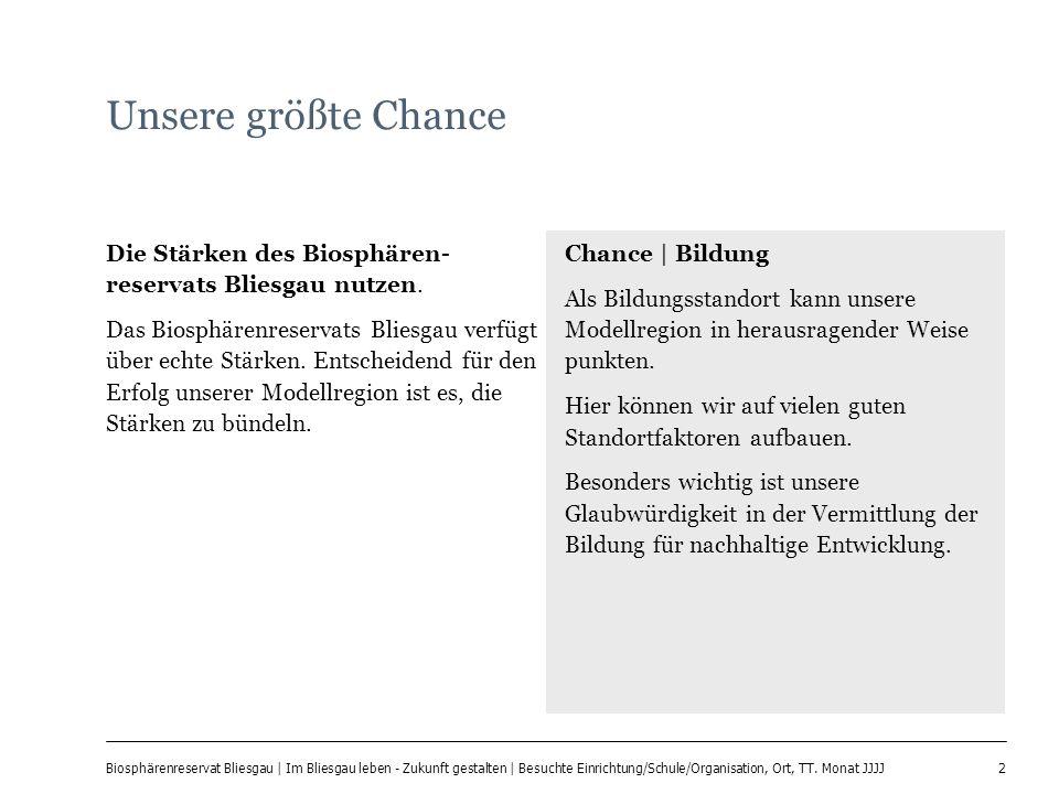 2 Biosphärenreservat Bliesgau | Im Bliesgau leben - Zukunft gestalten | Besuchte Einrichtung/Schule/Organisation, Ort, TT. Monat JJJJ Unsere größte Ch