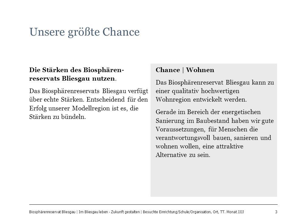3 Biosphärenreservat Bliesgau | Im Bliesgau leben - Zukunft gestalten | Besuchte Einrichtung/Schule/Organisation, Ort, TT. Monat JJJJ Unsere größte Ch
