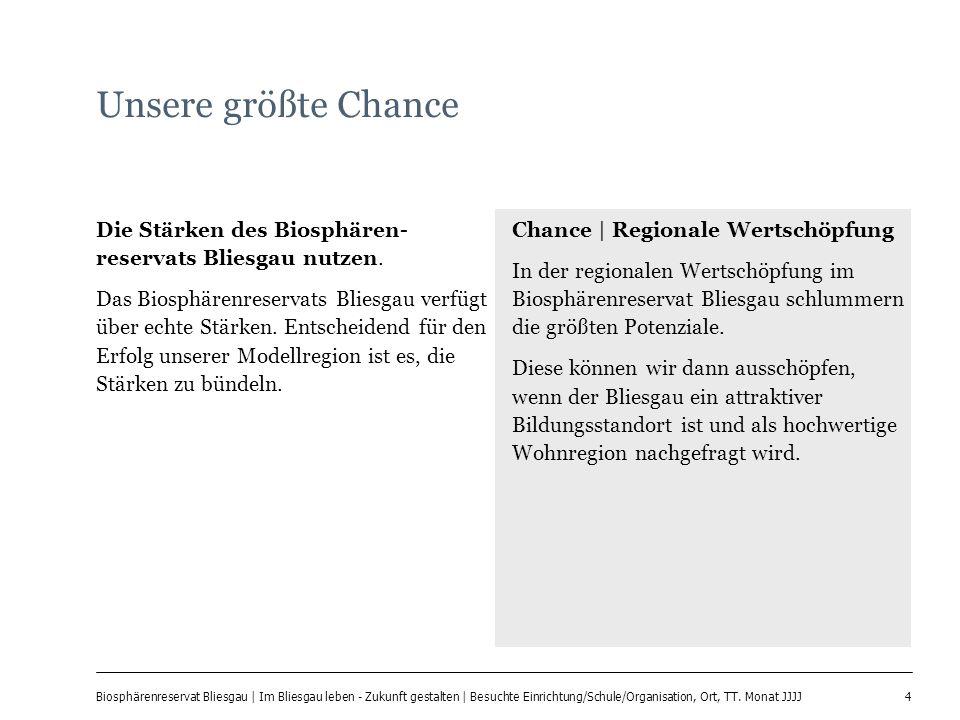 4 Biosphärenreservat Bliesgau | Im Bliesgau leben - Zukunft gestalten | Besuchte Einrichtung/Schule/Organisation, Ort, TT. Monat JJJJ Unsere größte Ch
