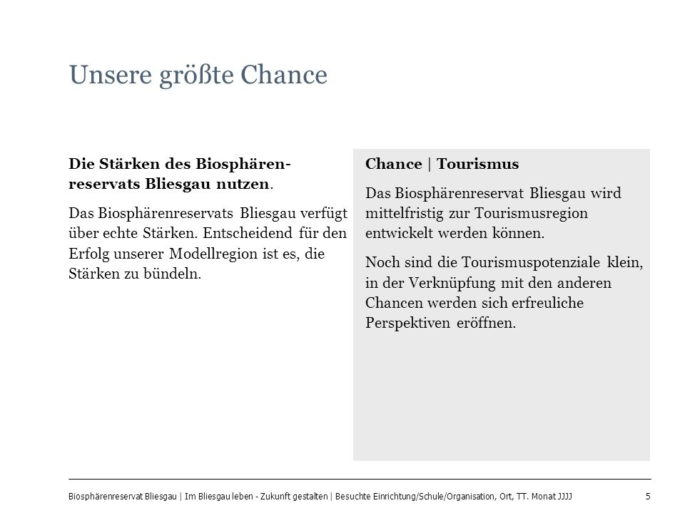 5 Biosphärenreservat Bliesgau | Im Bliesgau leben - Zukunft gestalten | Besuchte Einrichtung/Schule/Organisation, Ort, TT. Monat JJJJ Unsere größte Ch