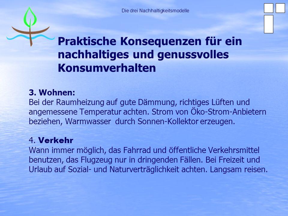 Praktische Konsequenzen für ein nachhaltiges und genussvolles Konsumverhalten 3. Wohnen: Bei der Raumheizung auf gute Dämmung, richtiges Lüften und an
