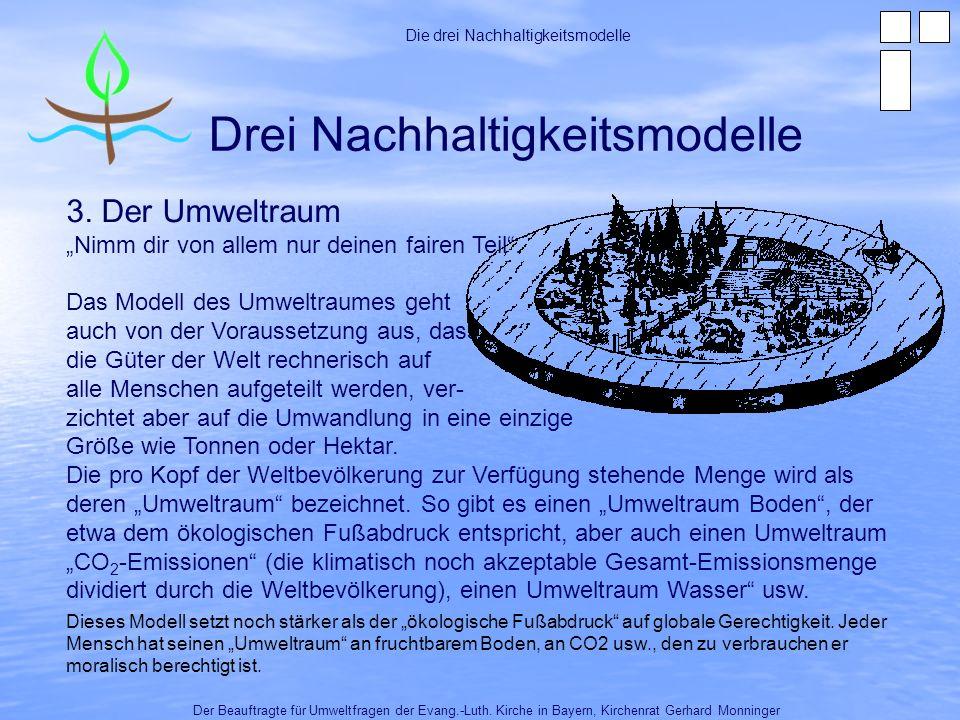 Der Umweltraum – Anwendungsbeispiele Die drei Nachhaltigkeitsmodelle 1.