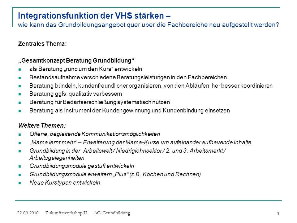 Integrationsfunktion der VHS stärken – wie kann das Grundbildungsangebot quer über die Fachbereiche neu aufgestellt werden? Zentrales Thema: Beratung