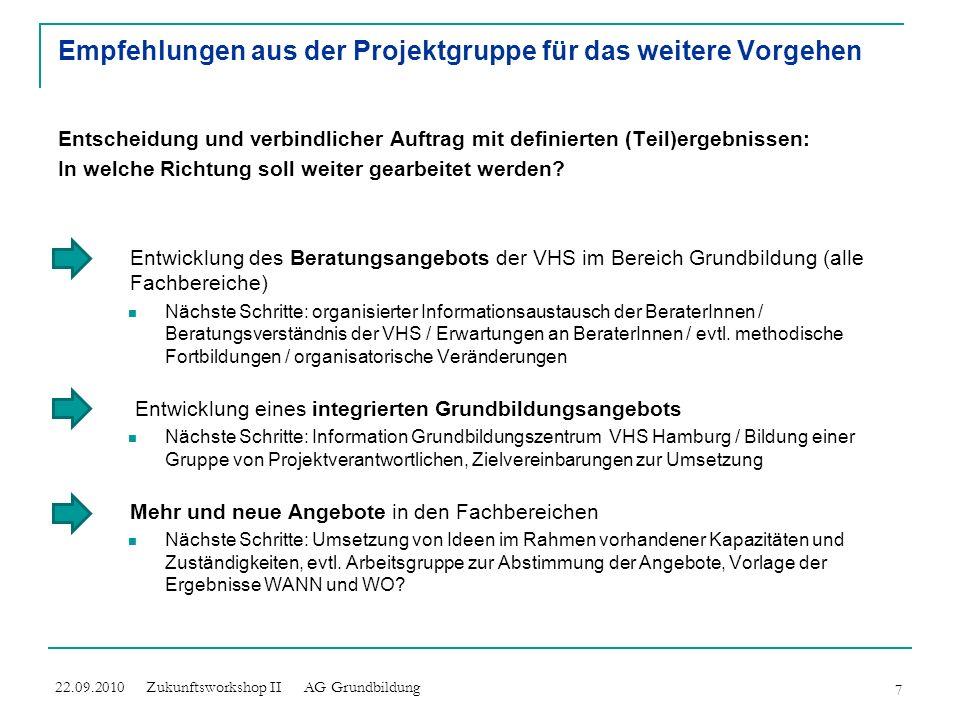 Empfehlungen aus der Projektgruppe für das weitere Vorgehen Entscheidung und verbindlicher Auftrag mit definierten (Teil)ergebnissen: In welche Richtu