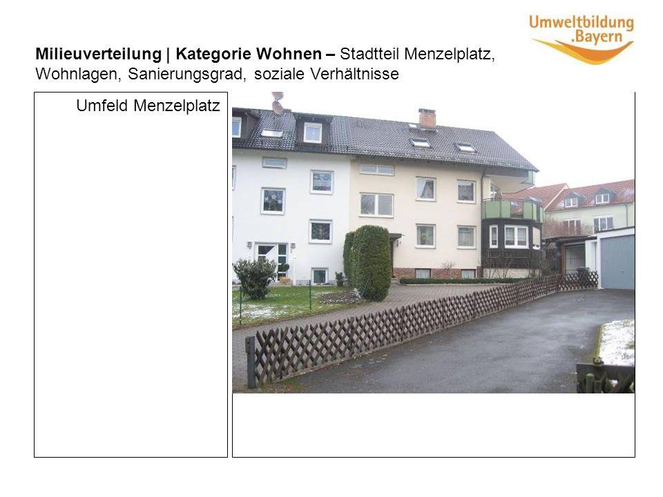 Umfeld Menzelplatz Milieuverteilung | Kategorie Wohnen – Stadtteil Menzelplatz, Wohnlagen, Sanierungsgrad, soziale Verhältnisse