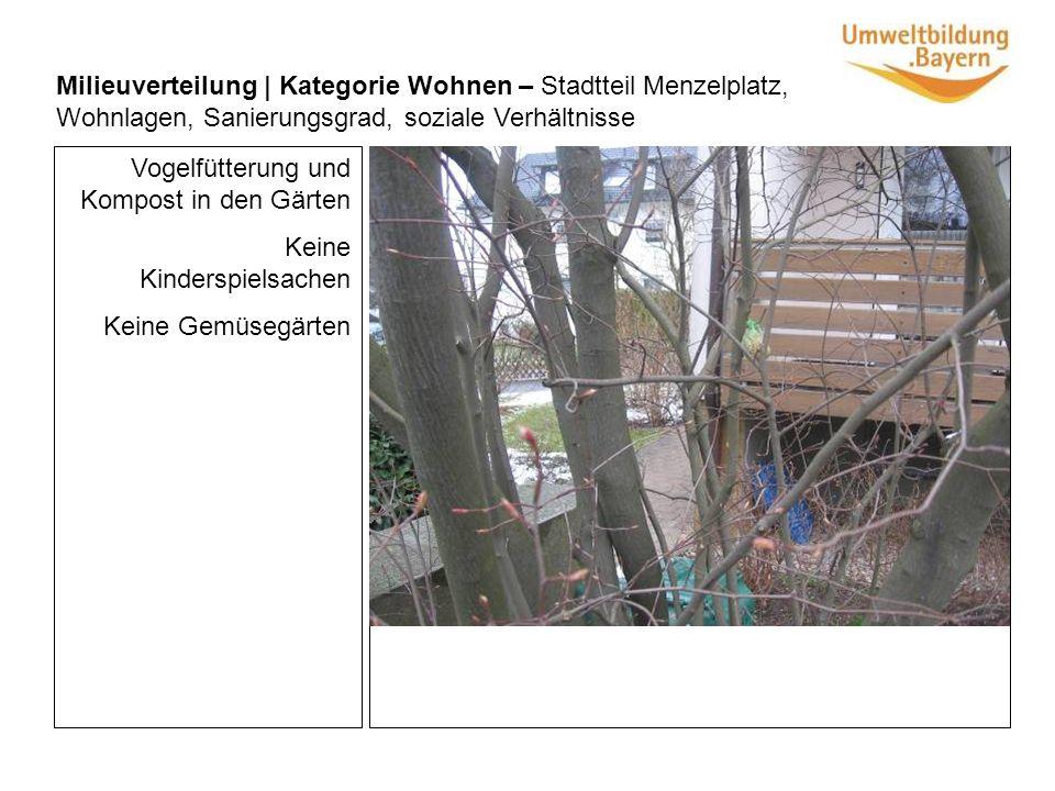Vogelfütterung und Kompost in den Gärten Keine Kinderspielsachen Keine Gemüsegärten Milieuverteilung | Kategorie Wohnen – Stadtteil Menzelplatz, Wohnlagen, Sanierungsgrad, soziale Verhältnisse