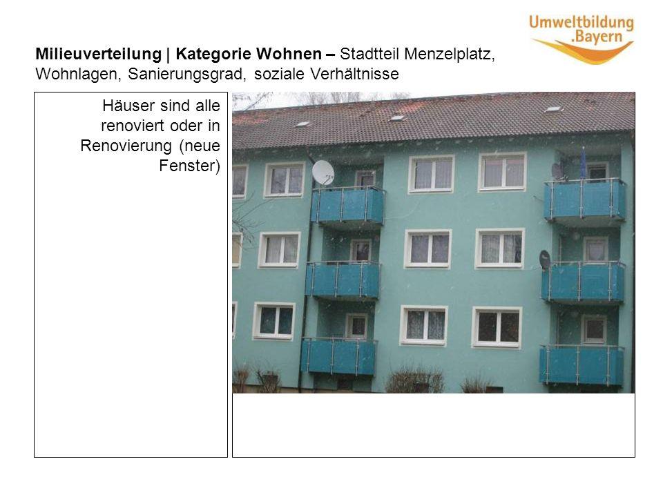 Häuser sind alle renoviert oder in Renovierung (neue Fenster) Milieuverteilung | Kategorie Wohnen – Stadtteil Menzelplatz, Wohnlagen, Sanierungsgrad, soziale Verhältnisse