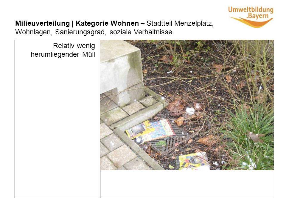Relativ wenig herumliegender Müll Milieuverteilung | Kategorie Wohnen – Stadtteil Menzelplatz, Wohnlagen, Sanierungsgrad, soziale Verhältnisse