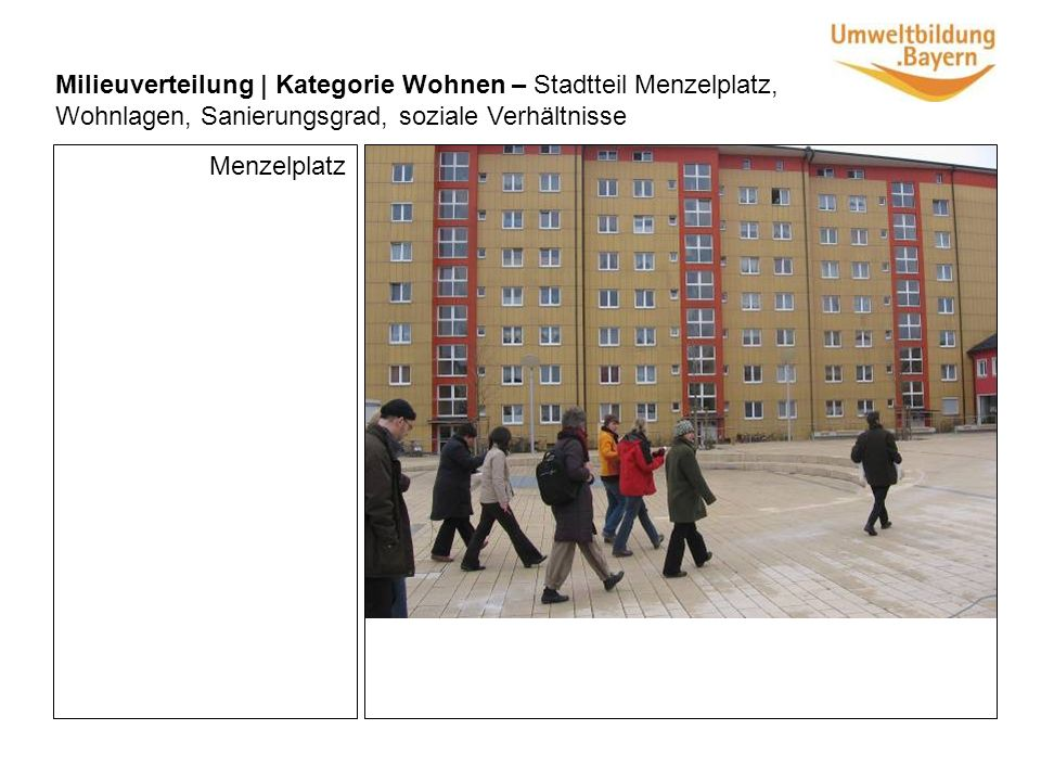 Menzelplatz Milieuverteilung | Kategorie Wohnen – Stadtteil Menzelplatz, Wohnlagen, Sanierungsgrad, soziale Verhältnisse
