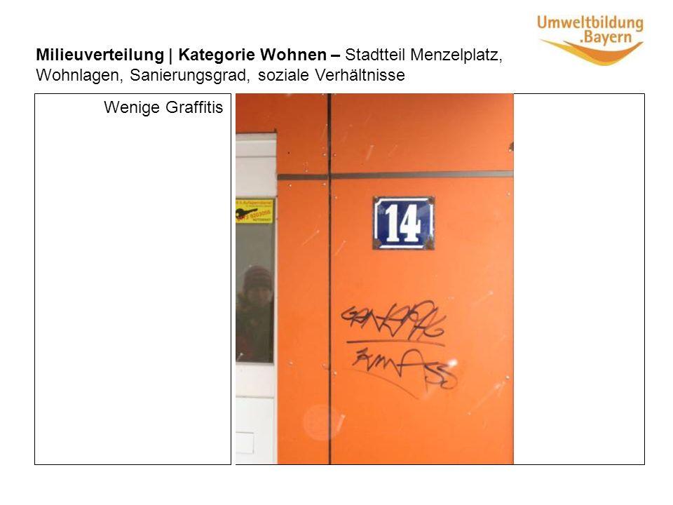 Wenige Graffitis Milieuverteilung | Kategorie Wohnen – Stadtteil Menzelplatz, Wohnlagen, Sanierungsgrad, soziale Verhältnisse