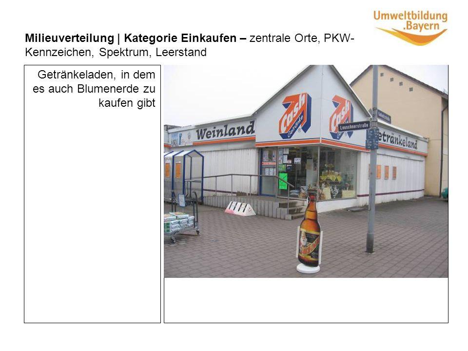 Milieuverteilung | Kategorie Einkaufen – zentrale Orte, PKW- Kennzeichen, Spektrum, Leerstand Getränkeladen, in dem es auch Blumenerde zu kaufen gibt