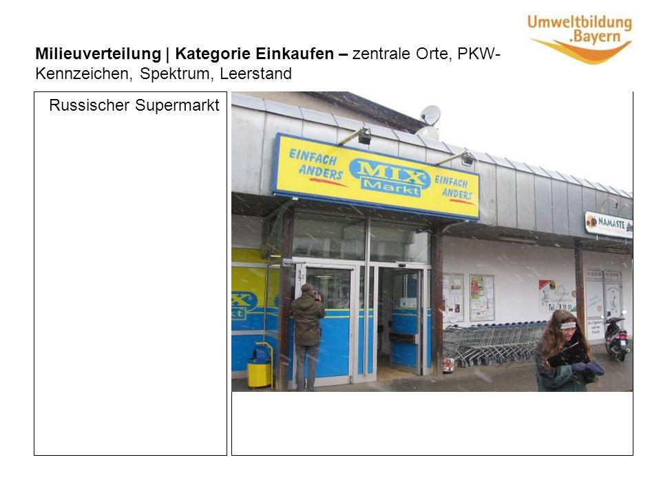 Milieuverteilung | Kategorie Einkaufen – zentrale Orte, PKW- Kennzeichen, Spektrum, Leerstand Russischer Supermarkt