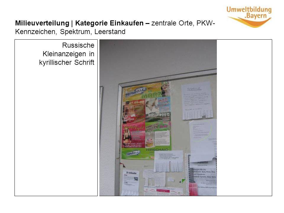 Milieuverteilung | Kategorie Einkaufen – zentrale Orte, PKW- Kennzeichen, Spektrum, Leerstand Russische Kleinanzeigen in kyrillischer Schrift