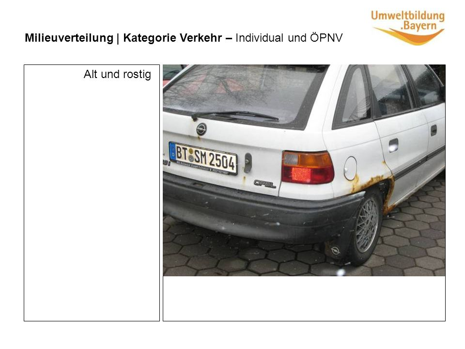 Milieuverteilung | Kategorie Verkehr – Individual und ÖPNV Alt und rostig