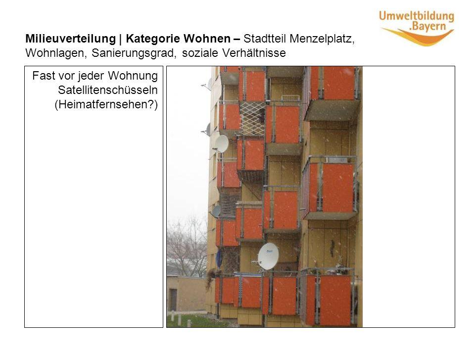 Fast vor jeder Wohnung Satellitenschüsseln (Heimatfernsehen?) Milieuverteilung | Kategorie Wohnen – Stadtteil Menzelplatz, Wohnlagen, Sanierungsgrad, soziale Verhältnisse