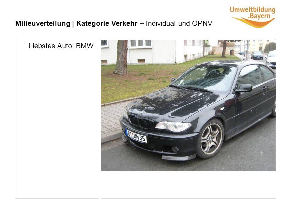 Milieuverteilung | Kategorie Verkehr – Individual und ÖPNV Liebstes Auto: BMW