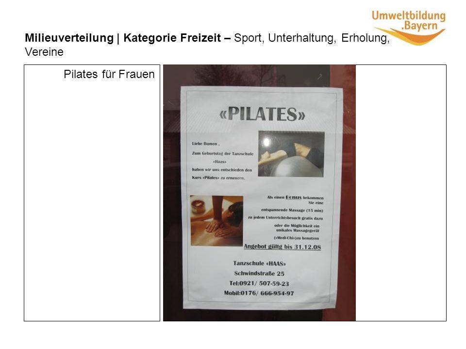 Milieuverteilung | Kategorie Freizeit – Sport, Unterhaltung, Erholung, Vereine Pilates für Frauen