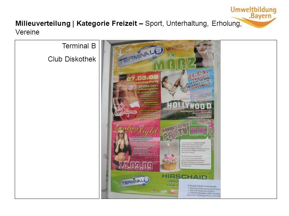 Milieuverteilung | Kategorie Freizeit – Sport, Unterhaltung, Erholung, Vereine Terminal B Club Diskothek