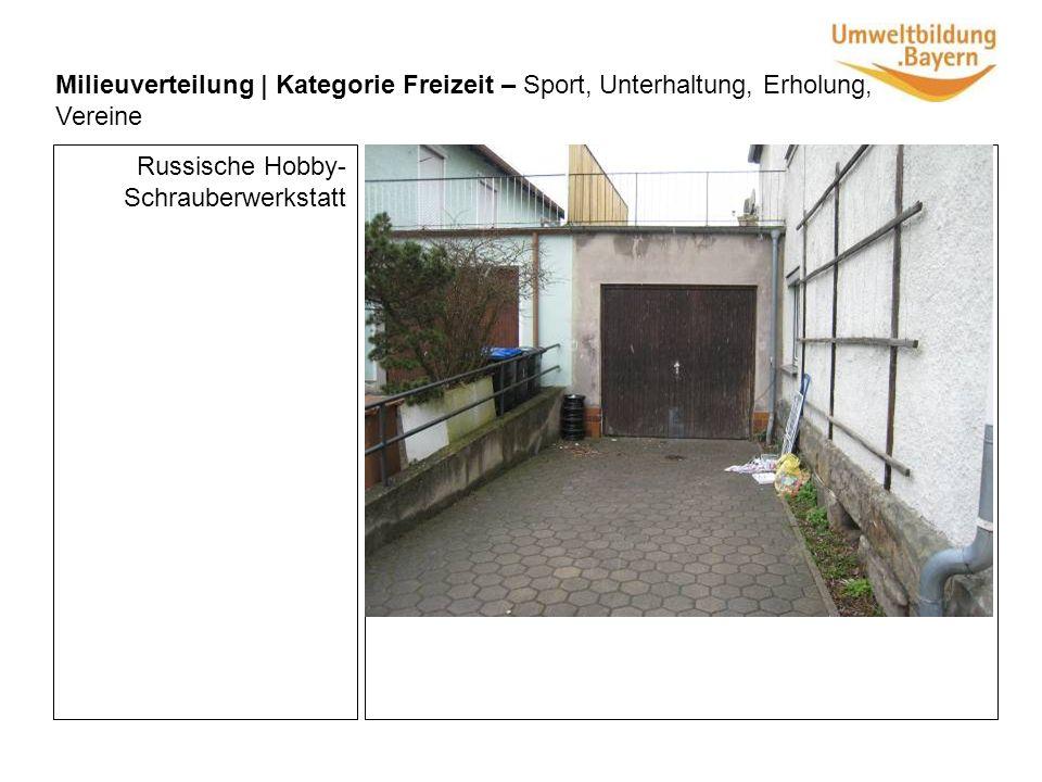 Milieuverteilung | Kategorie Freizeit – Sport, Unterhaltung, Erholung, Vereine Russische Hobby- Schrauberwerkstatt