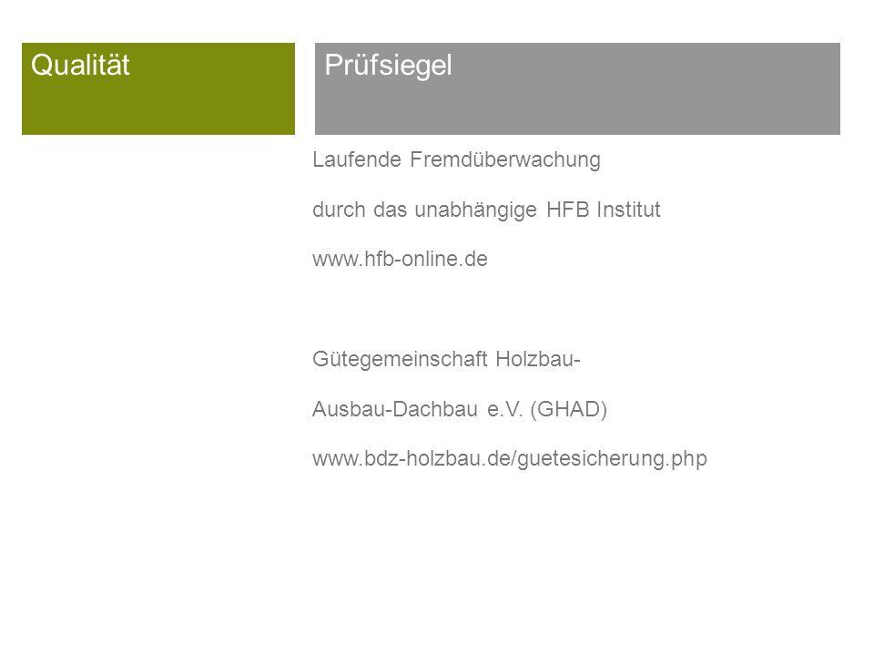 Qualität Laufende Fremdüberwachung durch das unabhängige HFB Institut www.hfb-online.de Gütegemeinschaft Holzbau- Ausbau-Dachbau e.V.