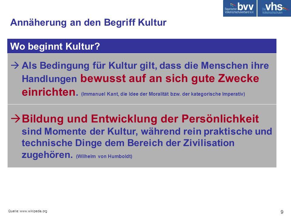 Quelle: www.wikipedia.org 30 Wie lebt Kultur.