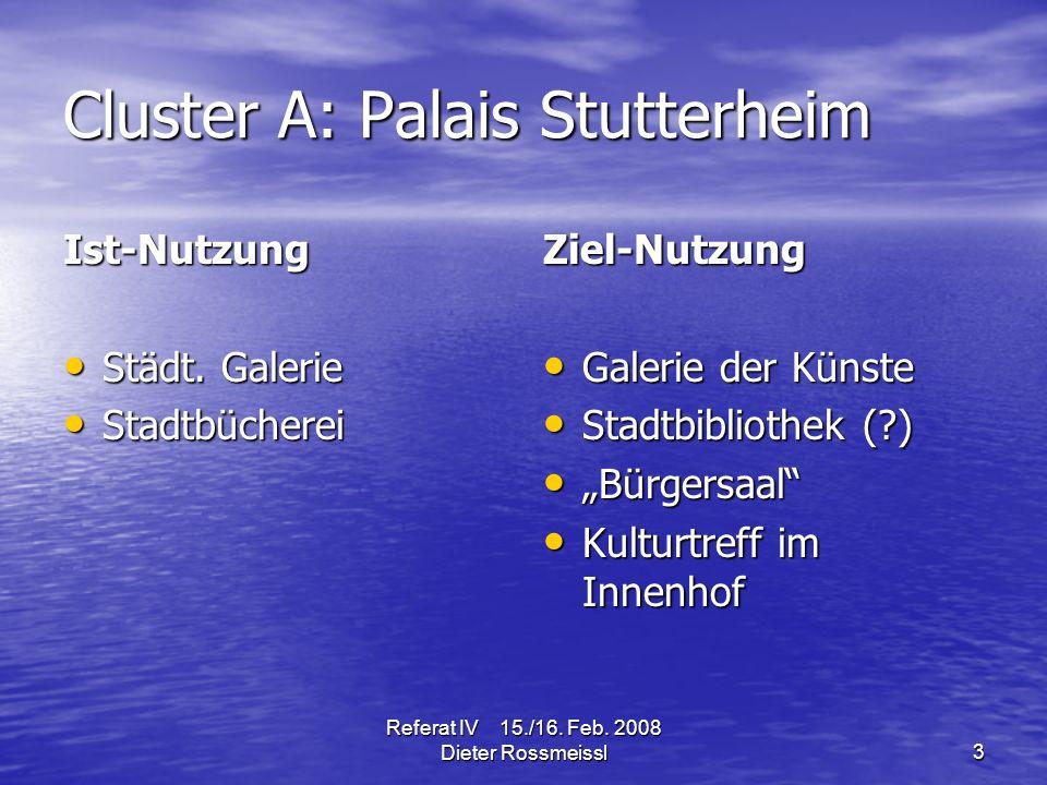 Referat IV 15./16. Feb. 2008 Dieter Rossmeissl3 Cluster A: Palais Stutterheim Ist-Nutzung Städt.
