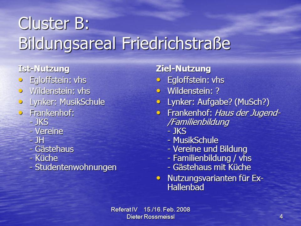 Referat IV 15./16.Feb. 2008 Dieter Rossmeissl15 Was tun wir – und wer macht es.
