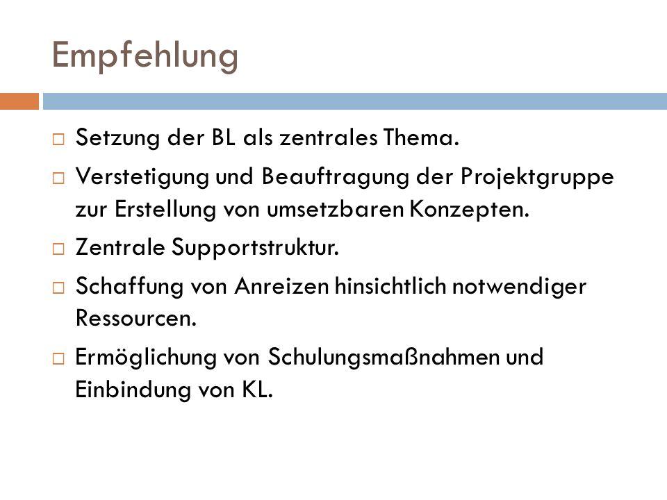 Empfehlung Setzung der BL als zentrales Thema. Verstetigung und Beauftragung der Projektgruppe zur Erstellung von umsetzbaren Konzepten. Zentrale Supp