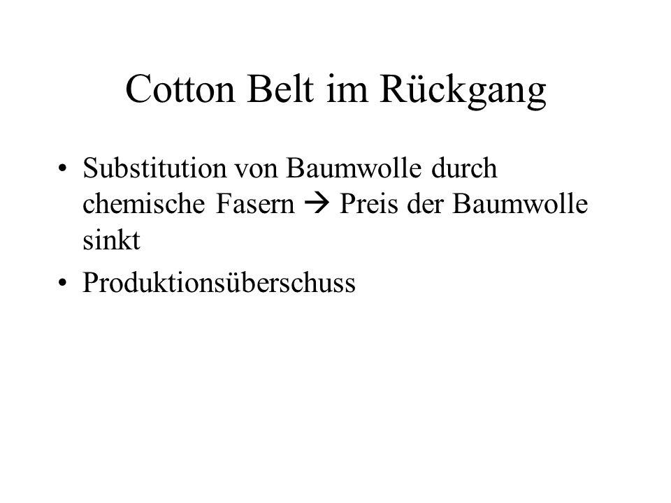 Cotton Belt im Rückgang Substitution von Baumwolle durch chemische Fasern Preis der Baumwolle sinkt Produktionsüberschuss