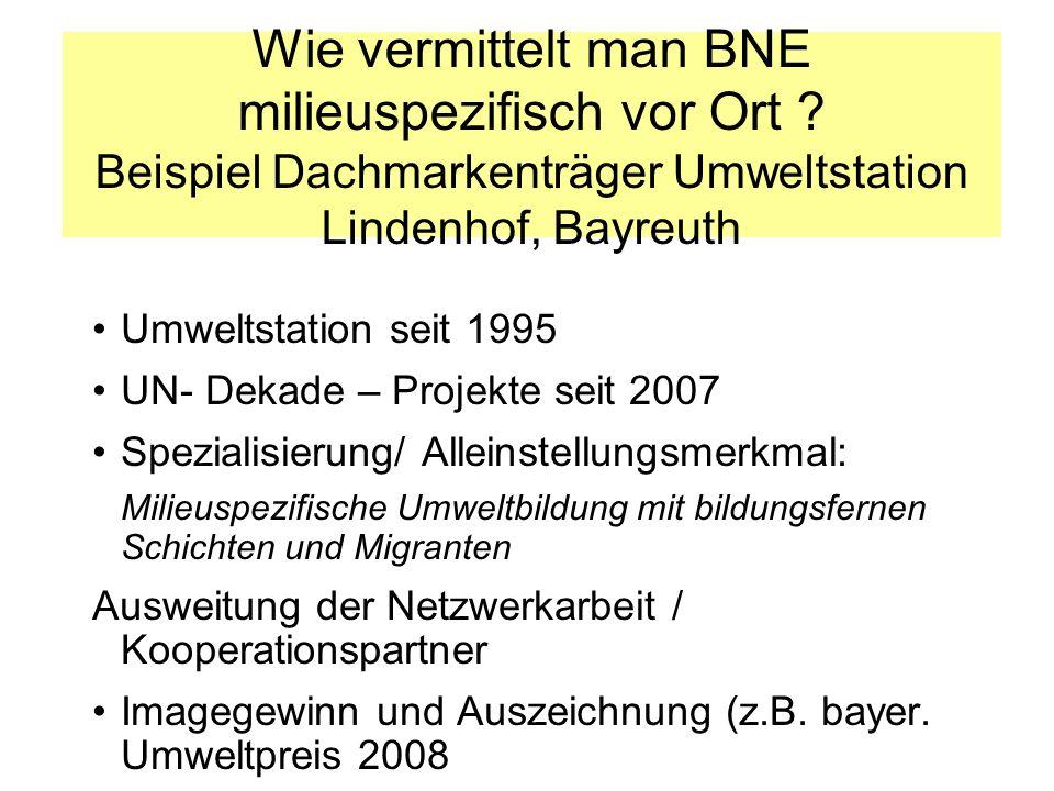 Wie vermittelt man BNE milieuspezifisch vor Ort ? Beispiel Dachmarkenträger Umweltstation Lindenhof, Bayreuth Umweltstation seit 1995 UN- Dekade – Pro
