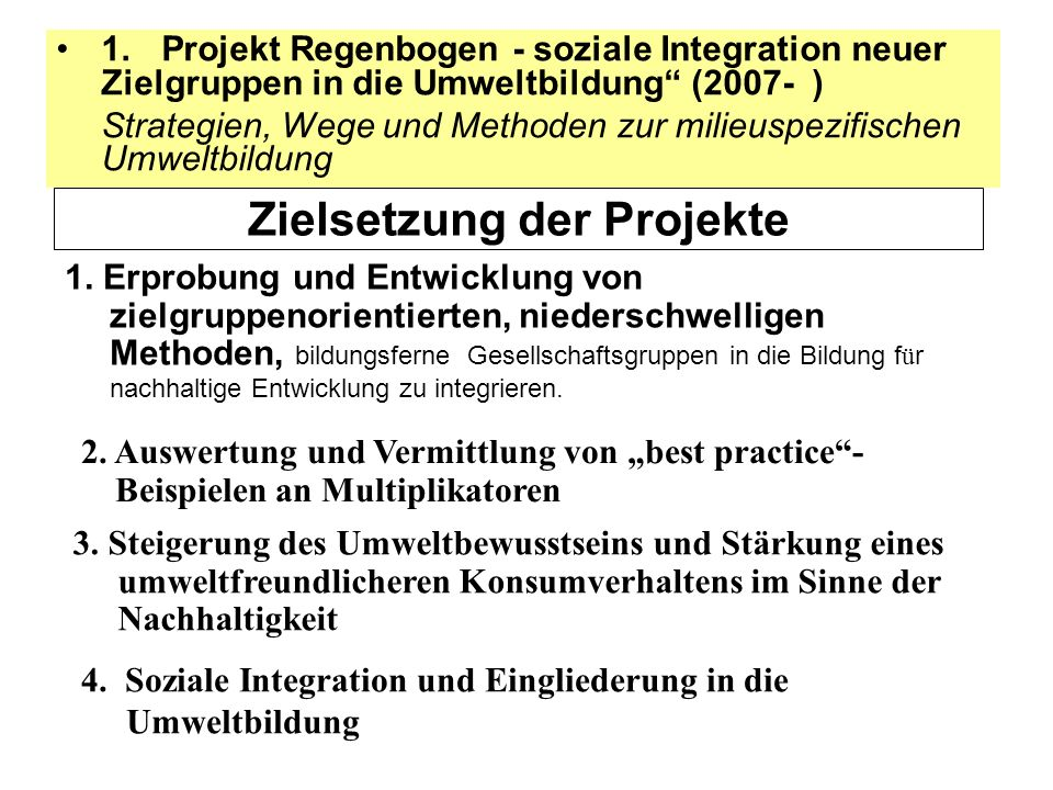 1. Projekt Regenbogen - soziale Integration neuer Zielgruppen in die Umweltbildung (2007- ) Strategien, Wege und Methoden zur milieuspezifischen Umwel