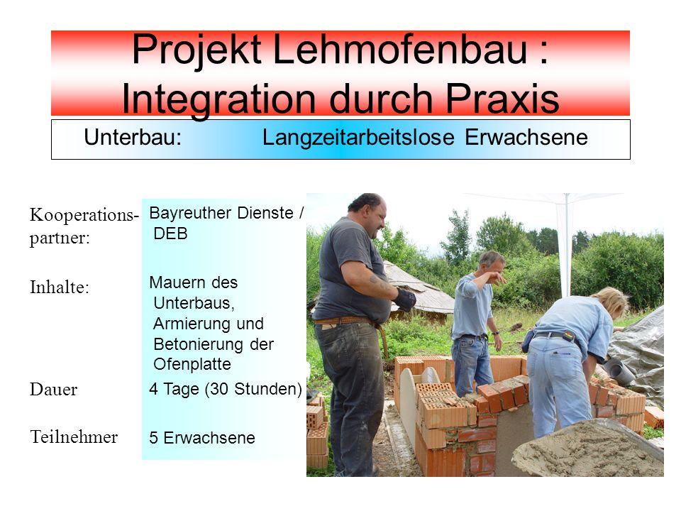 Unterbau: Langzeitarbeitslose Erwachsene Kooperations- partner: Inhalte: Dauer Teilnehmer Bayreuther Dienste / DEB Mauern des Unterbaus, Armierung und