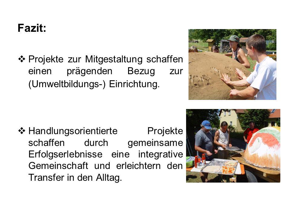 Fazit: Projekte zur Mitgestaltung schaffen einen prägenden Bezug zur (Umweltbildungs-) Einrichtung. Handlungsorientierte Projekte schaffen durch gemei