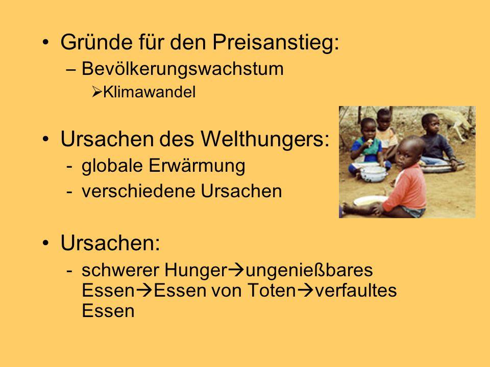 Gründe für den Preisanstieg: –Bevölkerungswachstum Klimawandel Ursachen des Welthungers: -globale Erwärmung -verschiedene Ursachen Ursachen: -schwerer Hunger ungenießbares Essen Essen von Toten verfaultes Essen