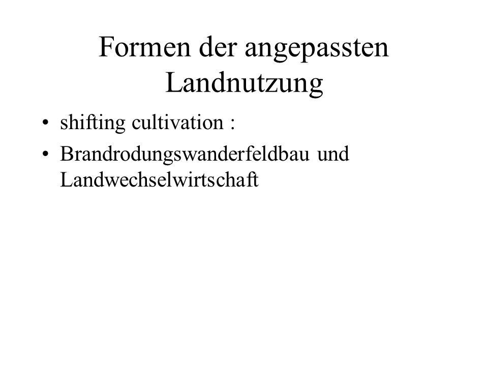 Formen der angepassten Landnutzung shifting cultivation : Brandrodungswanderfeldbau und Landwechselwirtschaft