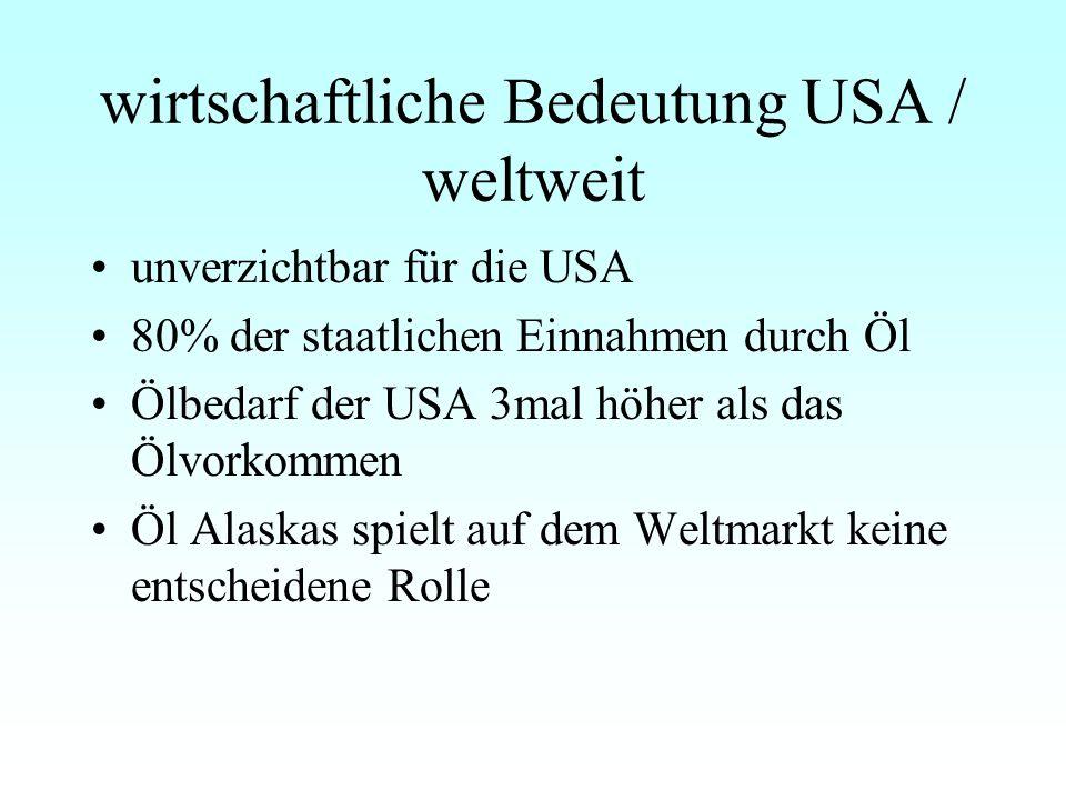 wirtschaftliche Bedeutung USA / weltweit unverzichtbar für die USA 80% der staatlichen Einnahmen durch Öl Ölbedarf der USA 3mal höher als das Ölvorkommen Öl Alaskas spielt auf dem Weltmarkt keine entscheidene Rolle
