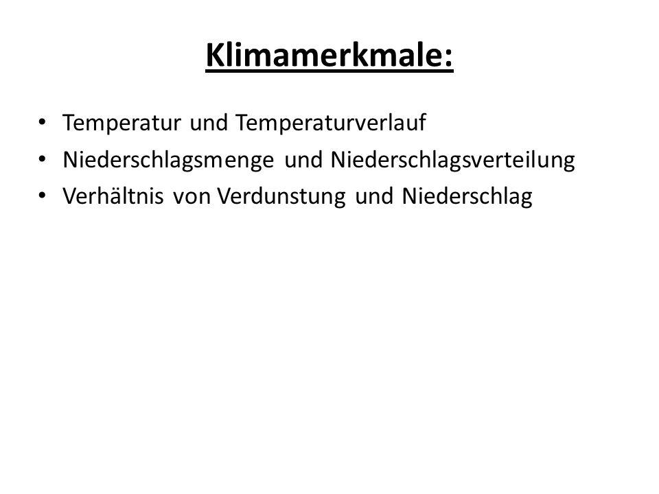 Klimamerkmale: Temperatur und Temperaturverlauf Niederschlagsmenge und Niederschlagsverteilung Verhältnis von Verdunstung und Niederschlag