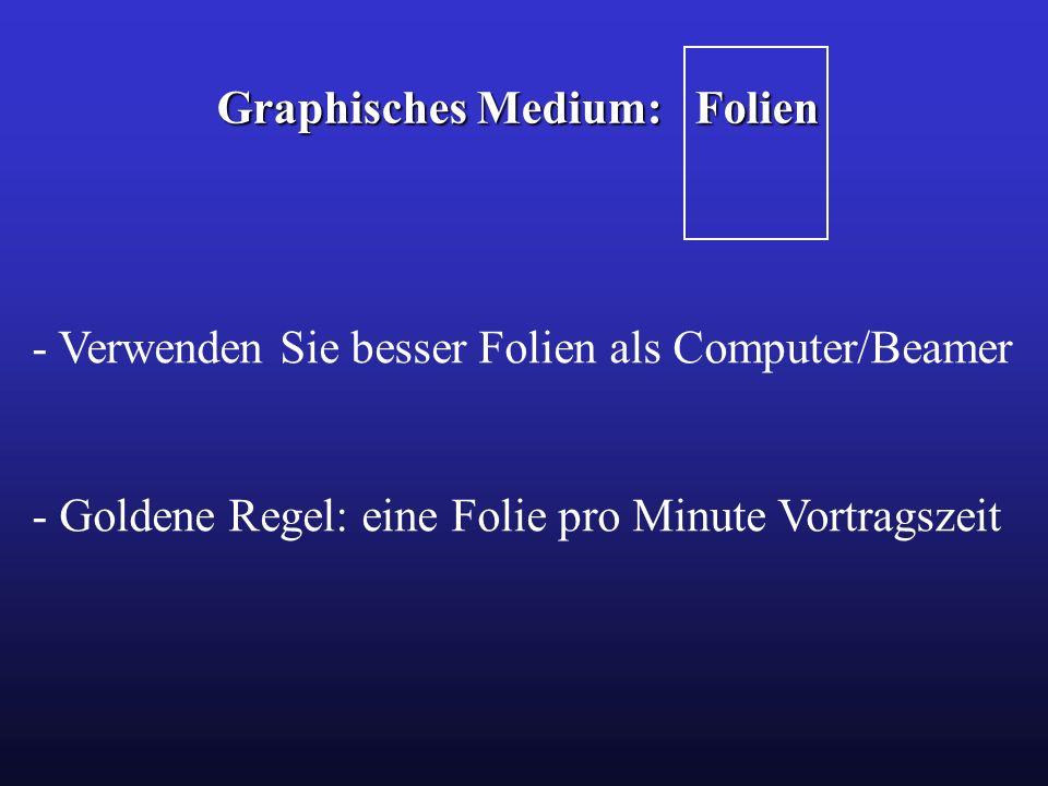 Graphisches Medium: Folien - Verwenden Sie besser Folien als Computer/Beamer - Goldene Regel: eine Folie pro Minute Vortragszeit