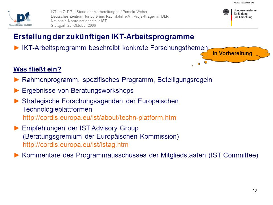 IKT im 7. RP – Stand der Vorbereitungen / Pamela Weber Deutsches Zentrum für Luft- und Raumfahrt e.V., Projektträger im DLR Nationale Koordinationsste