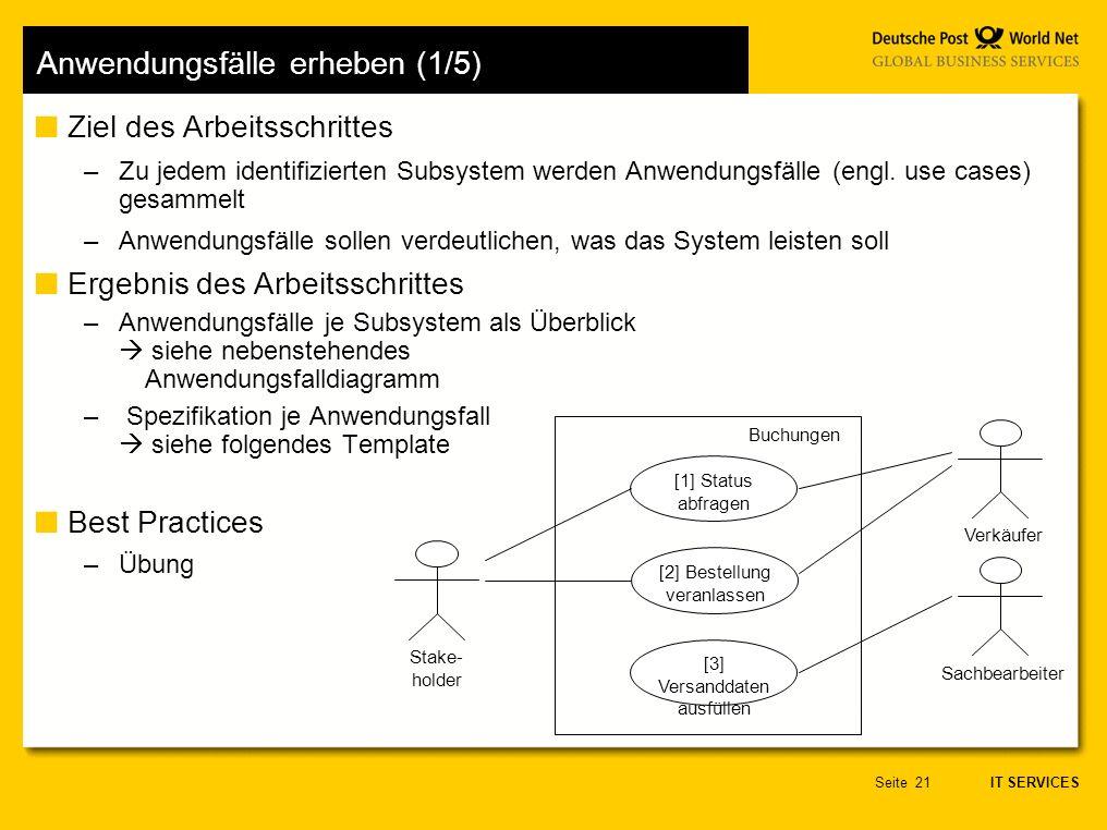 IT SERVICES Seite21 Anwendungsfälle erheben (1/5) Ziel des Arbeitsschrittes –Zu jedem identifizierten Subsystem werden Anwendungsfälle (engl.