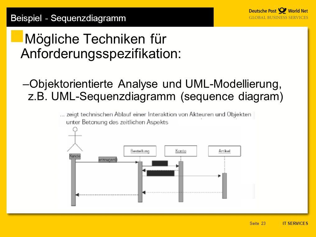 IT SERVICES Seite23 Beispiel - Sequenzdiagramm Mögliche Techniken für Anforderungsspezifikation: –Objektorientierte Analyse und UML-Modellierung, z.B.