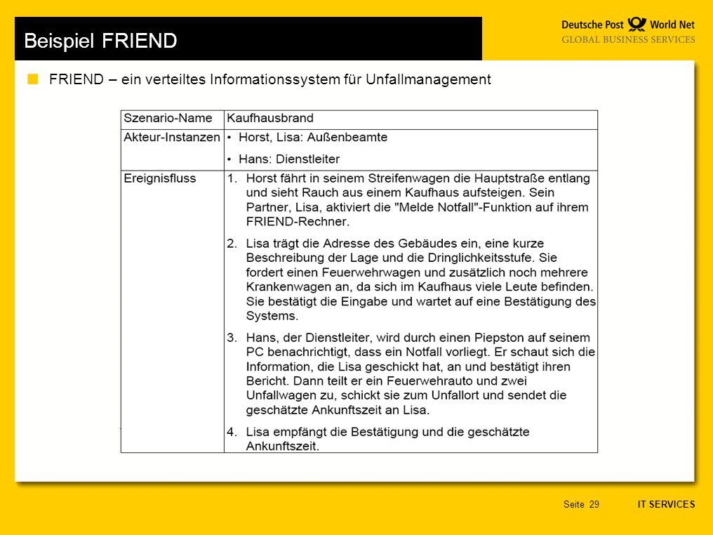IT SERVICES Seite29 Beispiel FRIEND FRIEND – ein verteiltes Informationssystem für Unfallmanagement